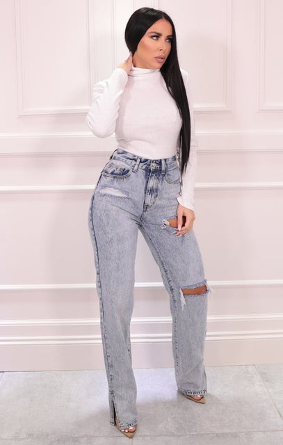 Light Acid Wash Straight Leg Ripped Jeans - Jocelyn