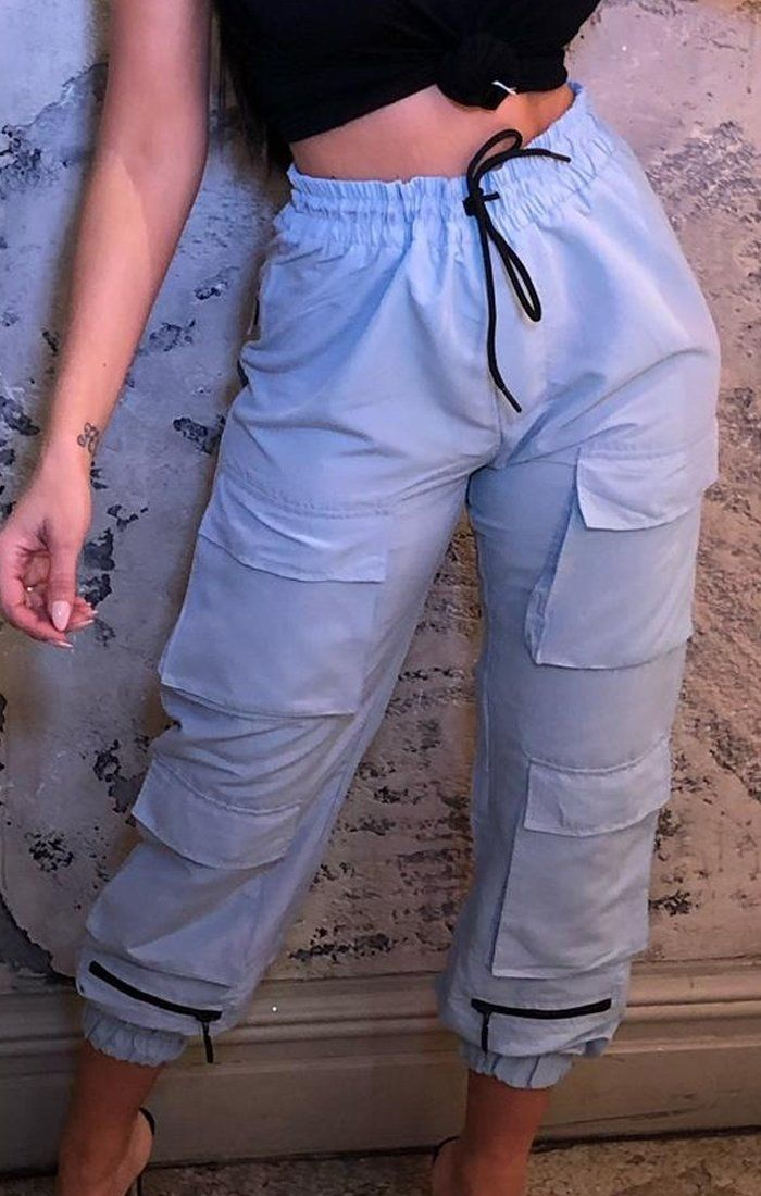 Light Blue Zip Cargo Trousers - Kathy