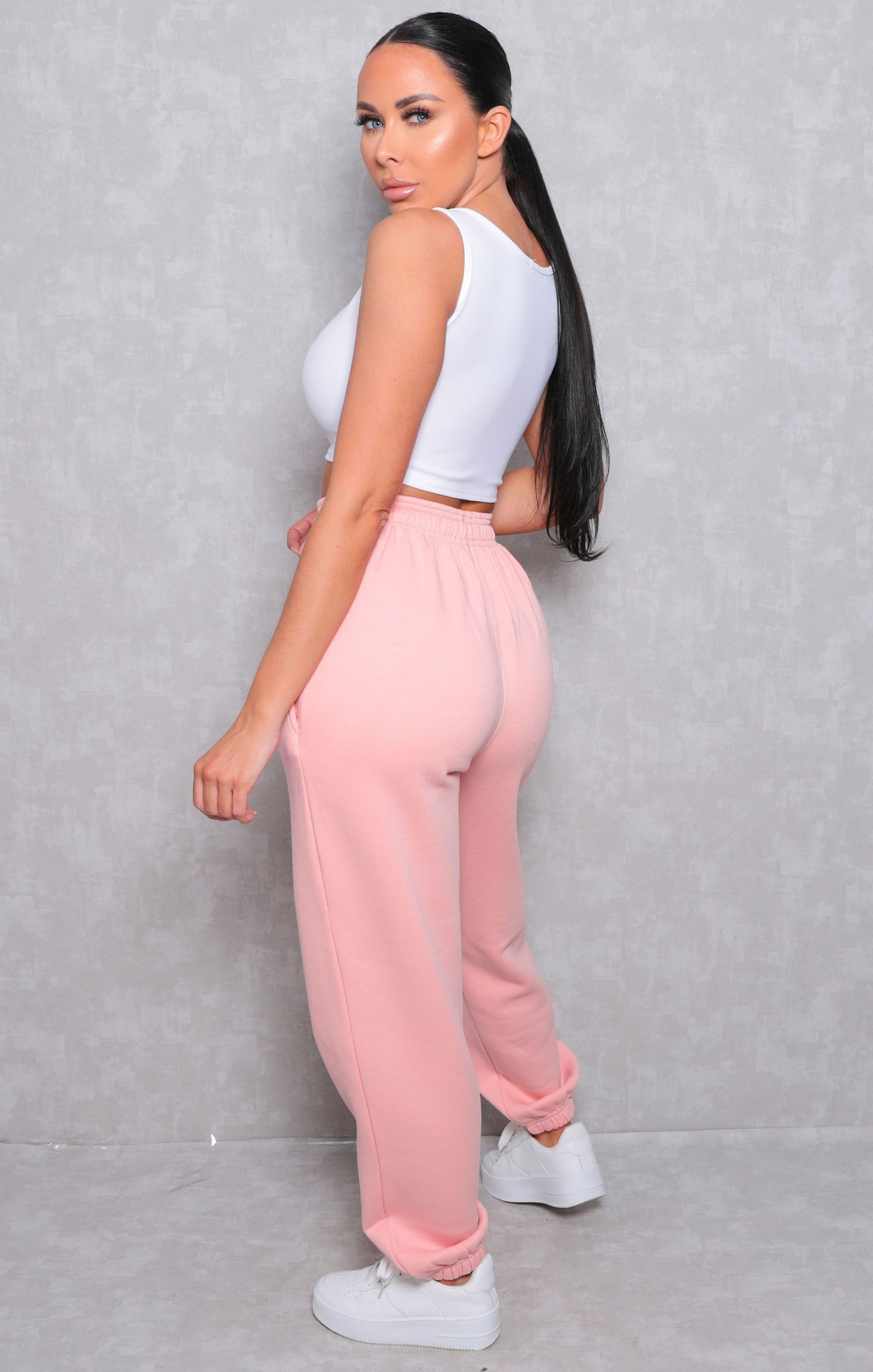 Light Pink Cuffed Joggers - Lizzie