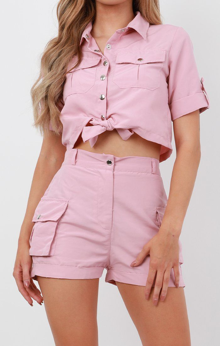 Light Pink Pop Button Shorts Co-Ord - Andrea