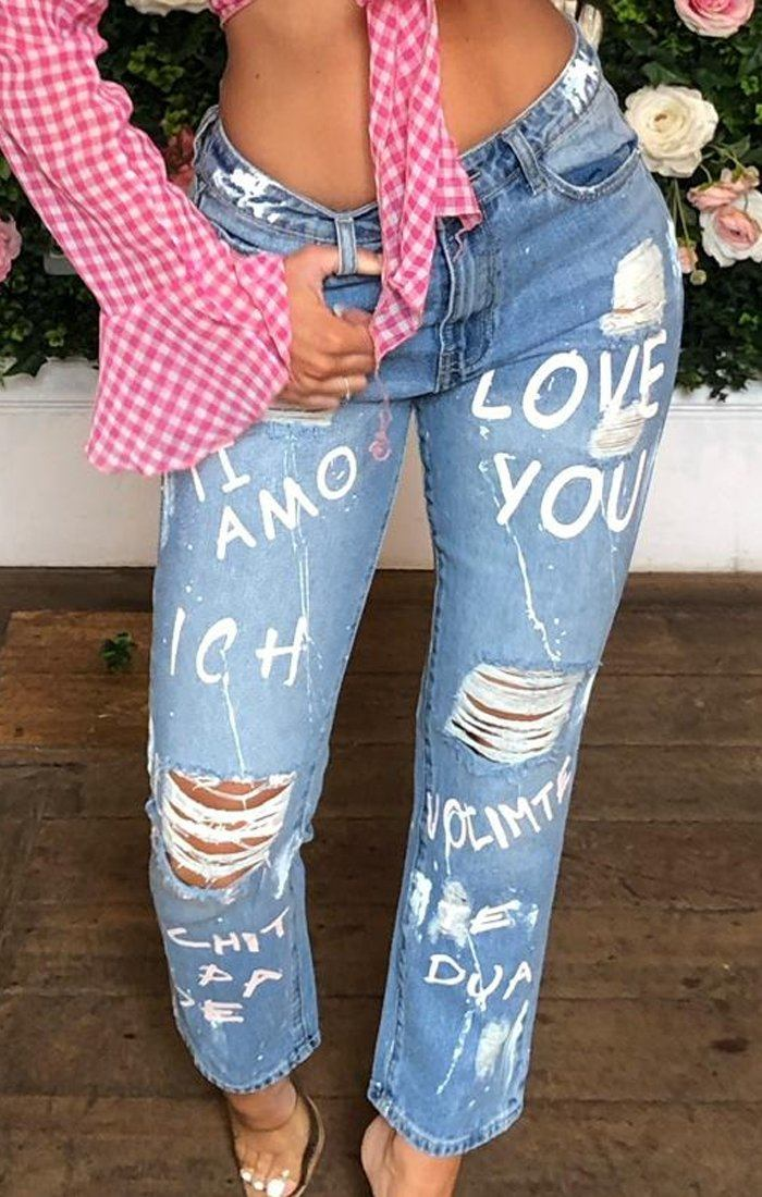 Light Wash Pink Graffiti Print Ripped Jeans - Jessa