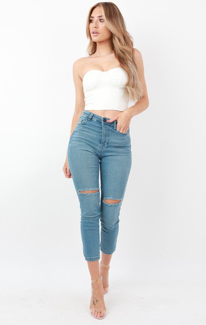 Light Wash Ripped Cropped Skinny Jeans - Anna