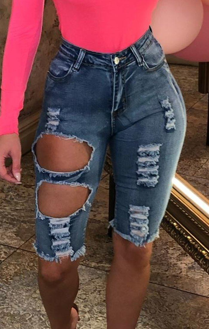 Light Wash Ripped Knee Length Denim Shorts - Maria