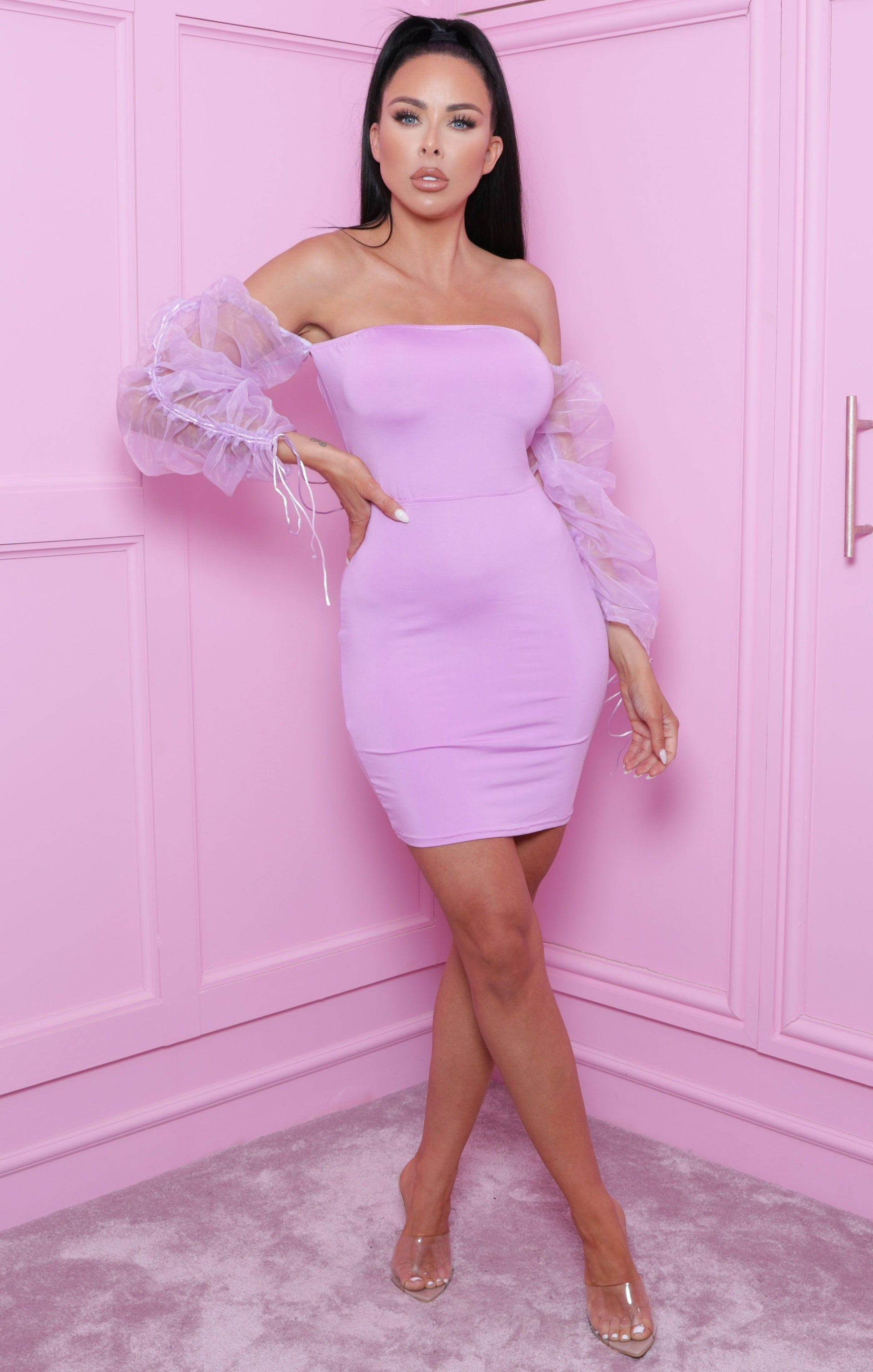 Lilac Bardot Mesh Sleeve Cross Back Bodycon Mini Dress - Fleur