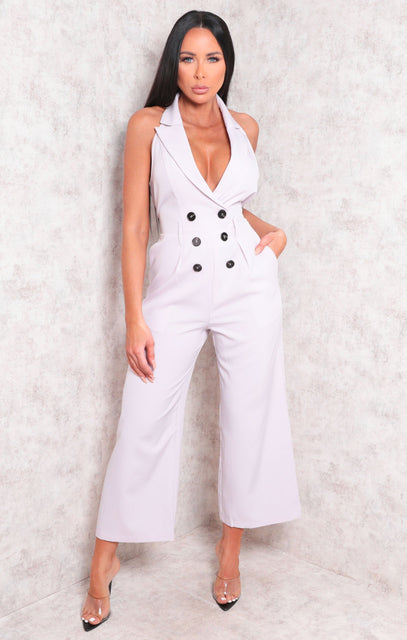 Lilac Collar Wide Leg Double Breasted Jumpsuit - Yasmin