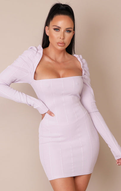 Lilac Frill Sleeve Ribbed Bodycon Mini Dress - Julieta