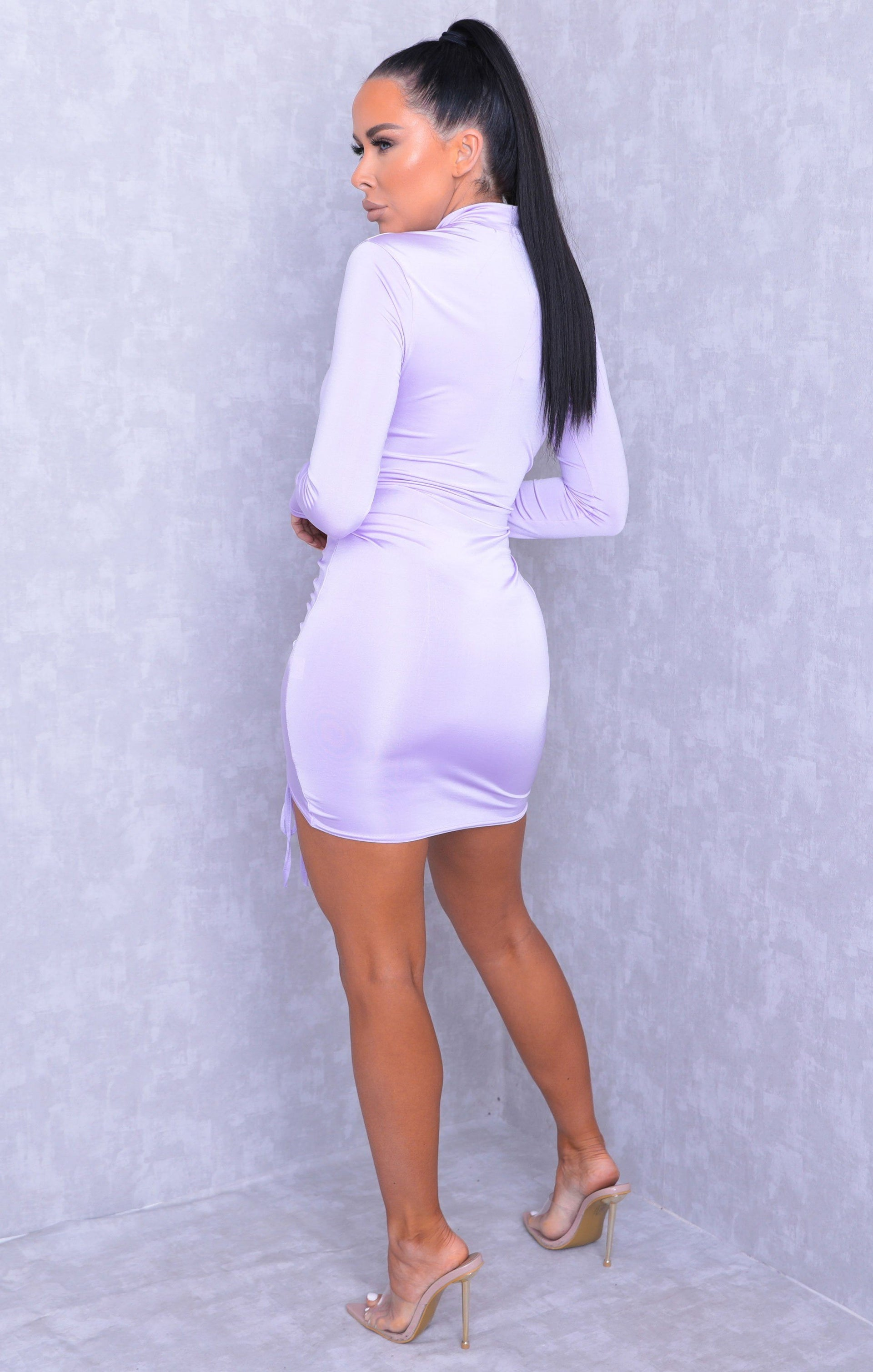 Lilac High Neck Ruched Side Bodycon Mini Dress - Tasmin