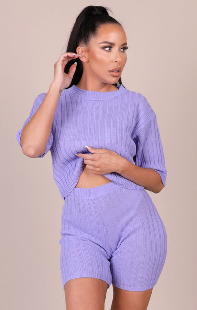 Lilac Knitted Ribbed Shorts Co-ord - Celeste