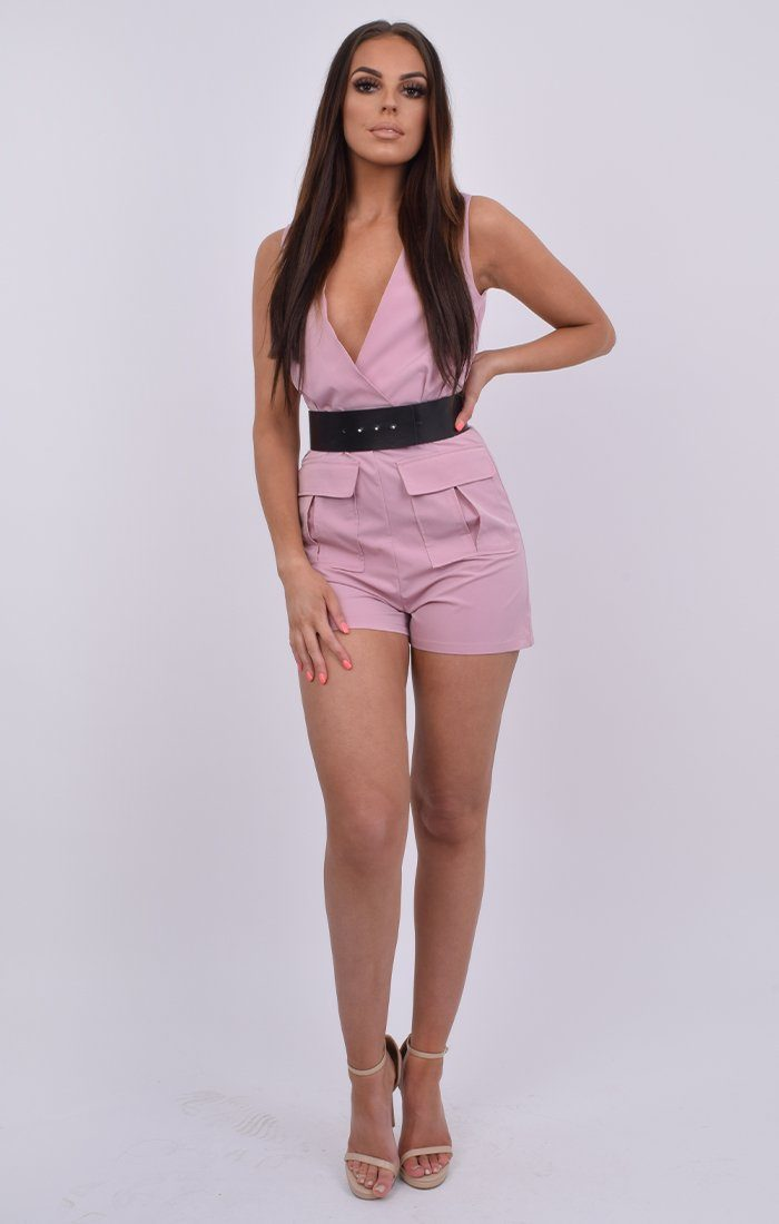 Lilac Low V Neck Belted Utility Playsuit - Sutton