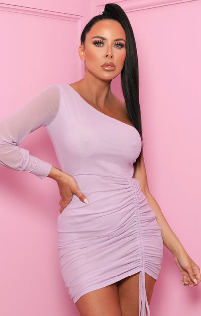 Lilac Mesh Ruched Side Bodycon Mini Dress - Gaynell