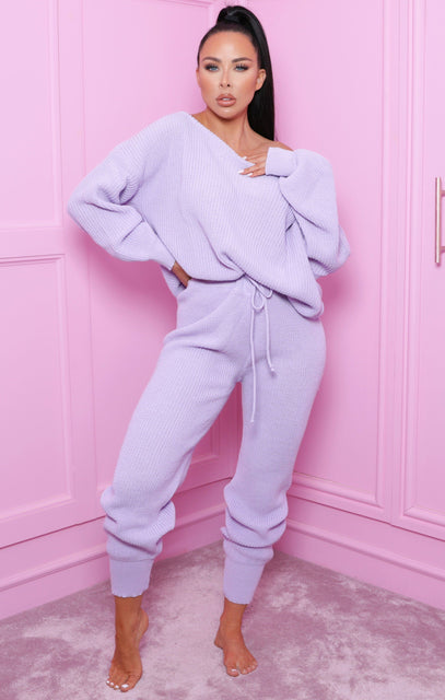 Lilac Off The Shoulder Knitted Loungewear Set - Alisa