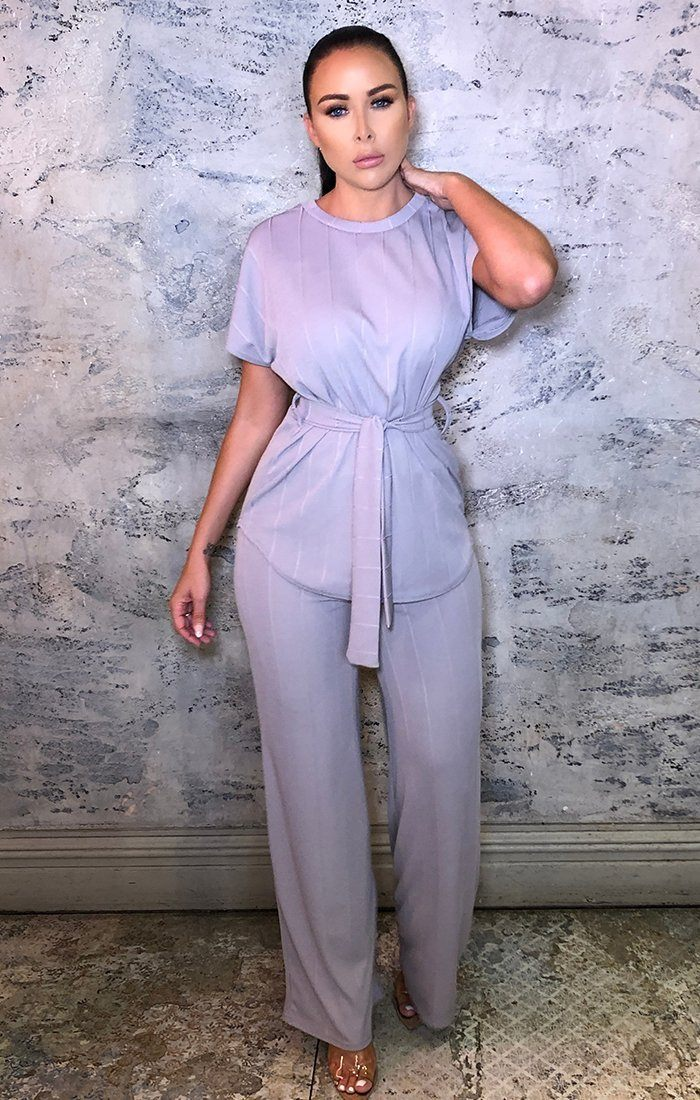 Lilac Ribbed Belted Top Wide Leg Loungewear Set - Tallulah