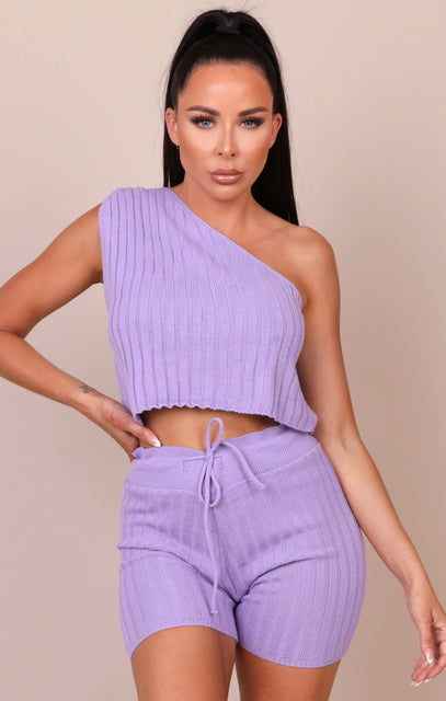 Lilac Ribbed One Shoulder Co-ord - Selena