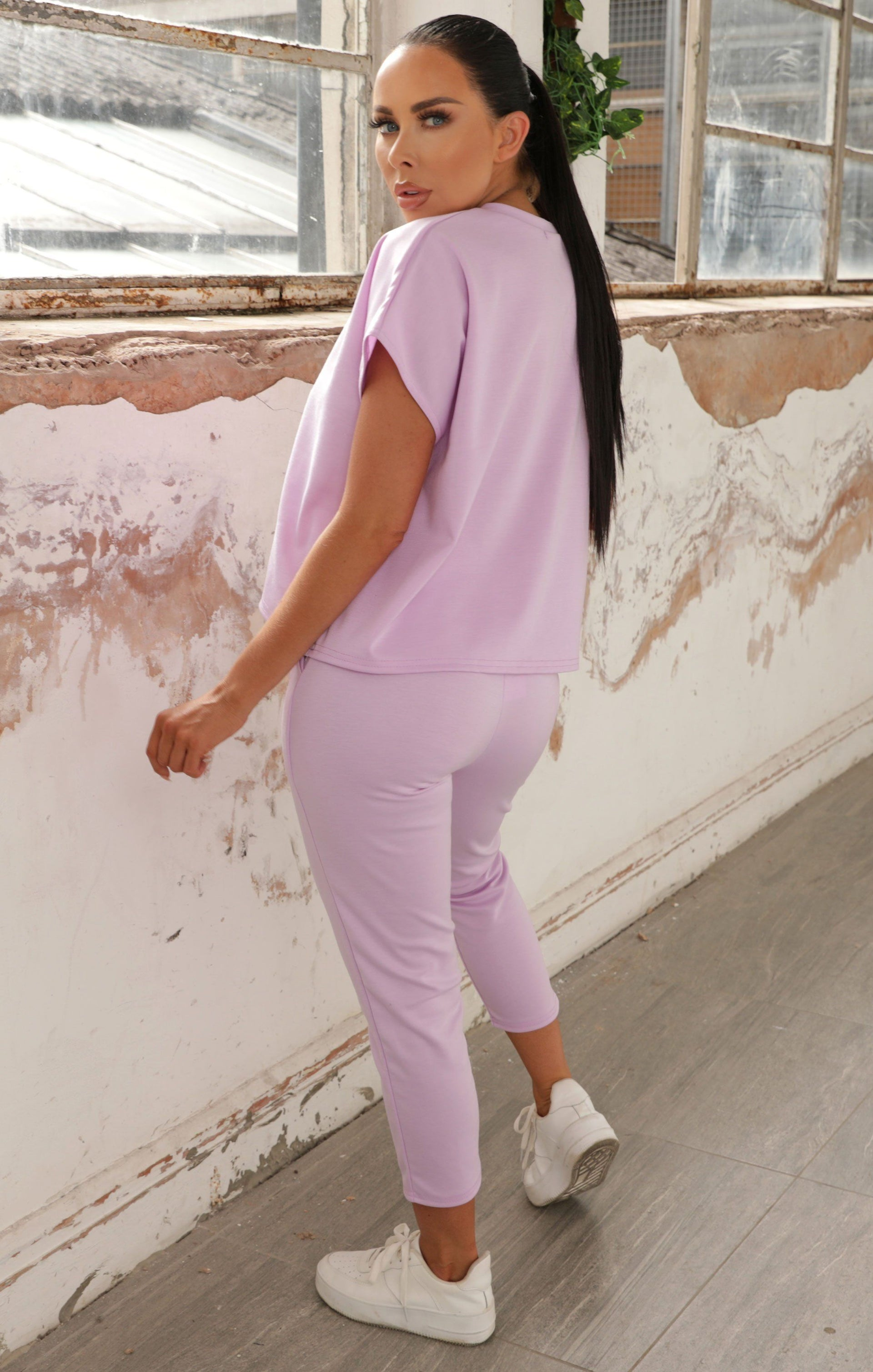 Lilac Short Sleeve Boxy Loungewear Set - Lacy