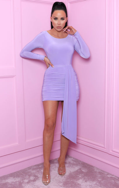 Lilac Slinky Drape Front Long Sleeve Mini Dress - Hallie