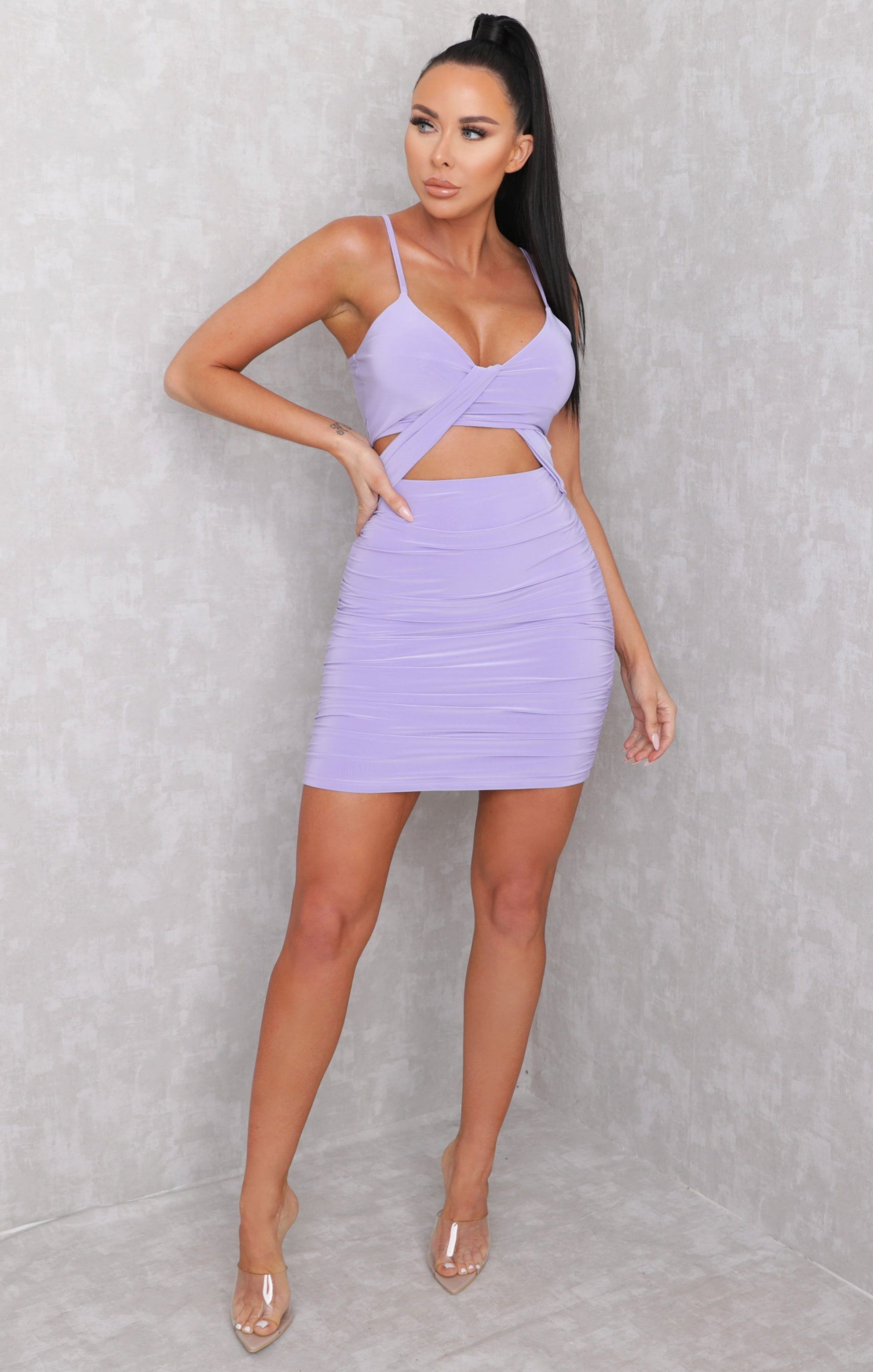 Lilac Slinky Drape Front Ruched Bodycon Mini Dress - True
