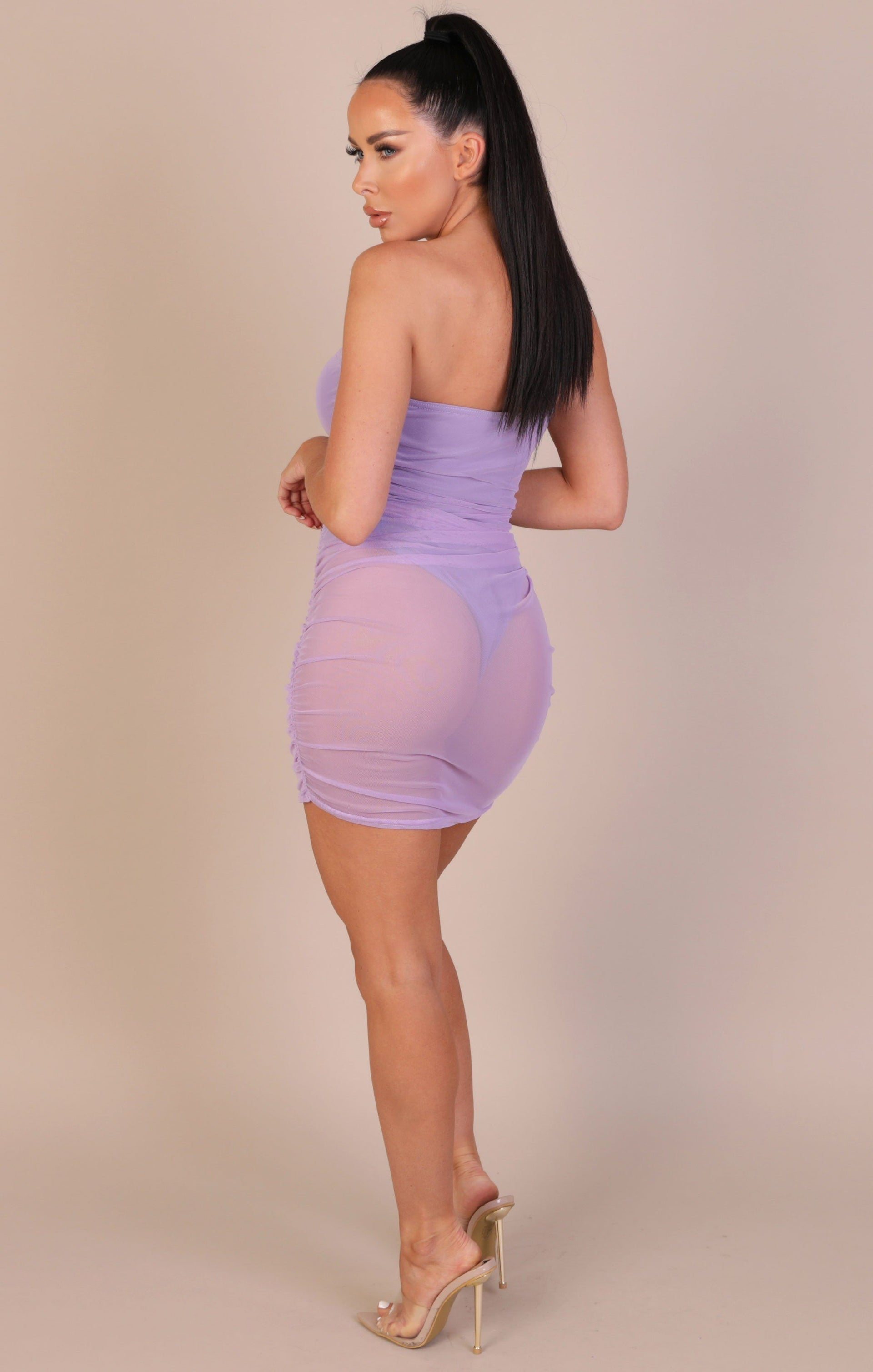 Lilac Strapless Corset Mesh Overlay Mini Dress - Ula