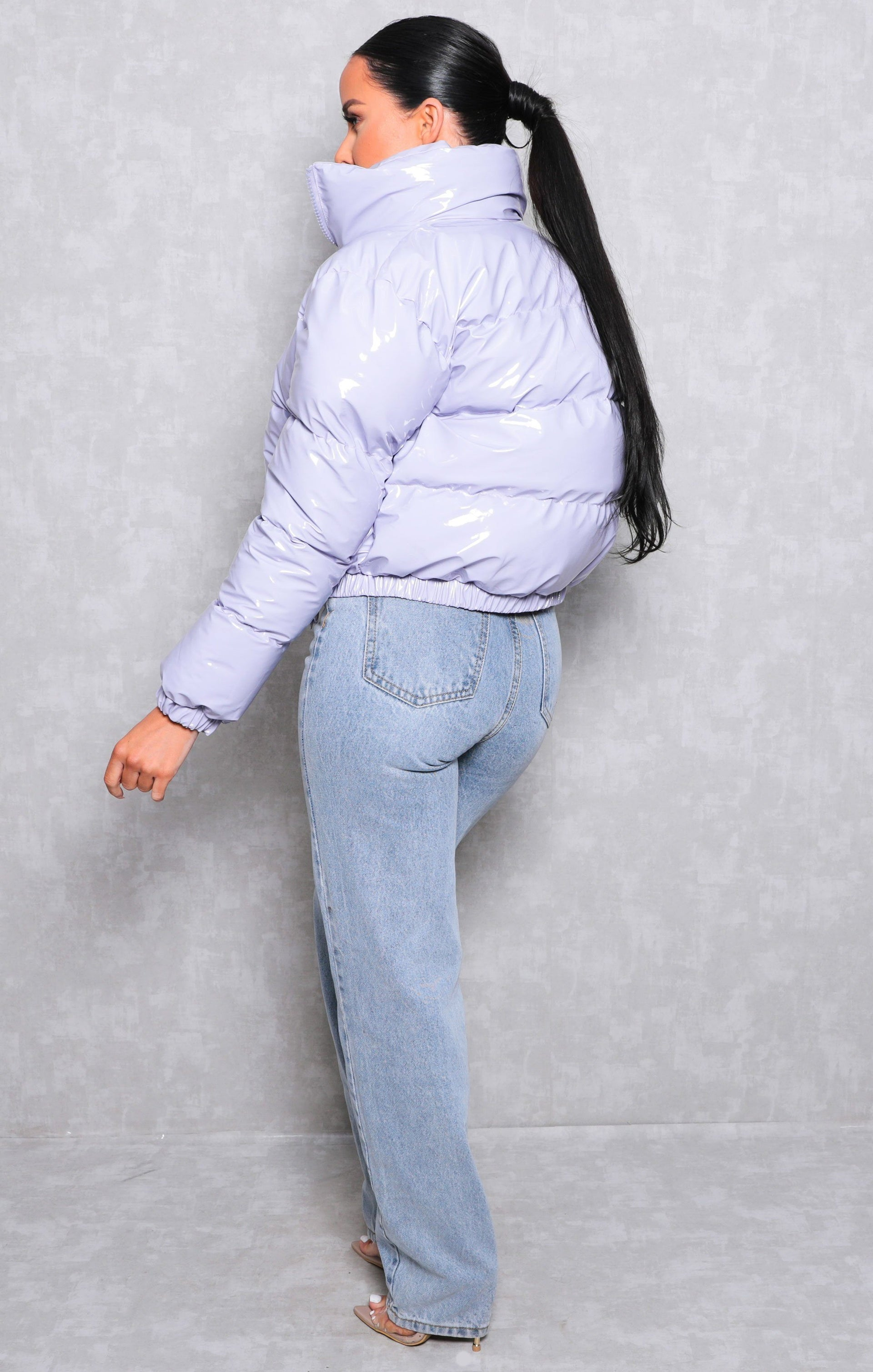 Lilac Vinyl High Shine Padded Puffer Jacket - Aimee
