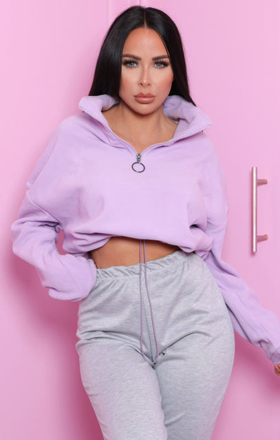 Lilac Zip Up Cropped Fleece Sweatshirt - Julissa