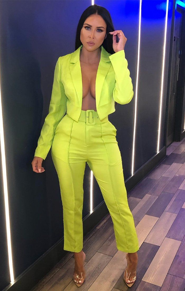 Lime Belted Cigarette Trousers - Frankie