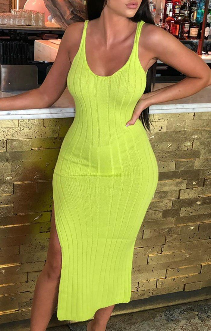 Lime Cami Knitted Side Split Maxi Dress - Thea