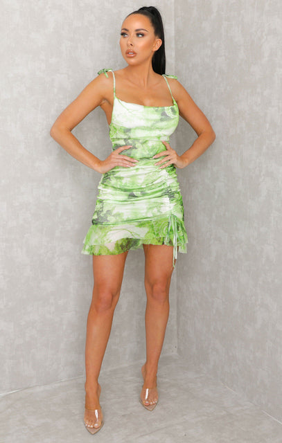 Lime Chinese Print Mesh Ruched Bodycon Mini Dress - Kira