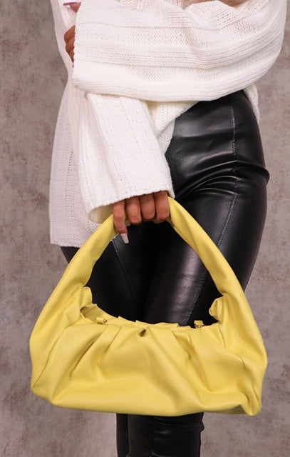 Lime Faux Leather Gathered Puff Shoulder Bag - Auora