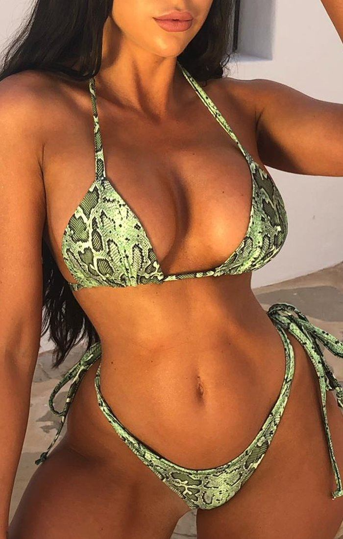 Lime Green Print Bow Brief Bikini Bottoms - Elly