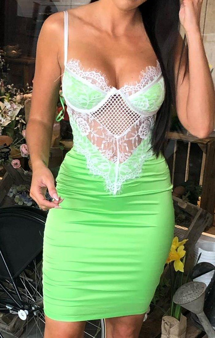 Lime Lace Bodycon Dress - Blaire