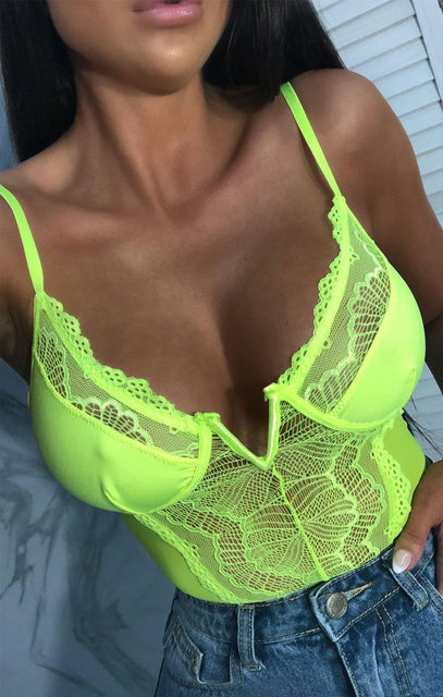Lime Lace Mesh Wired V Bodysuit - Lucy