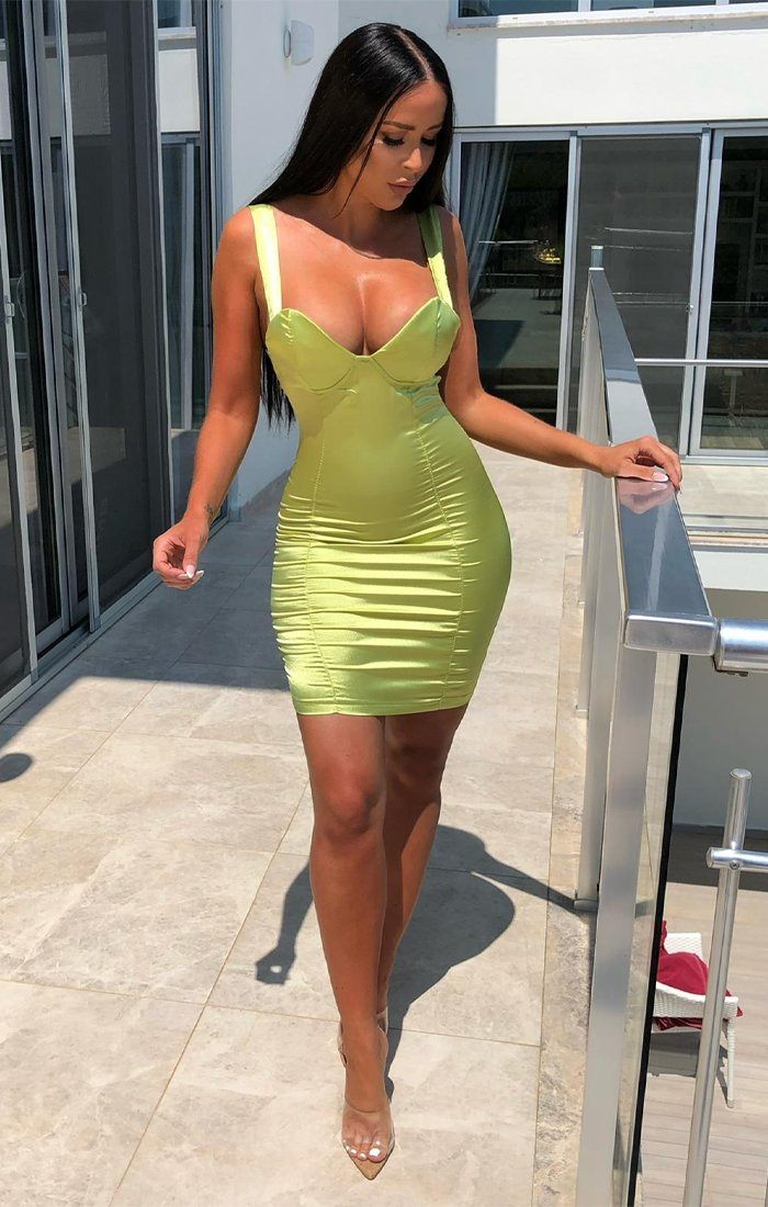 Lime Satin Padded Cup Dress - Amalia
