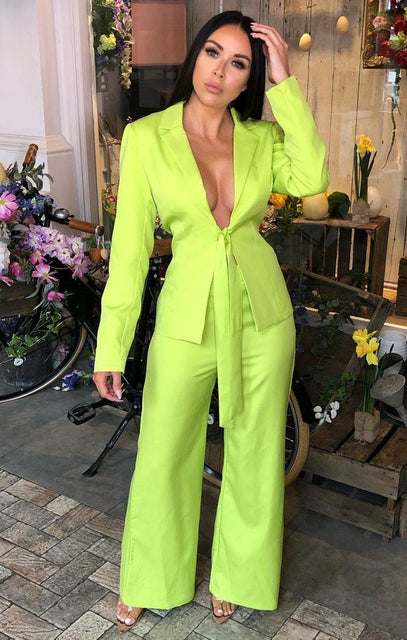 Lime Tie Blazer Two Piece Set Co-Ord - Dalary