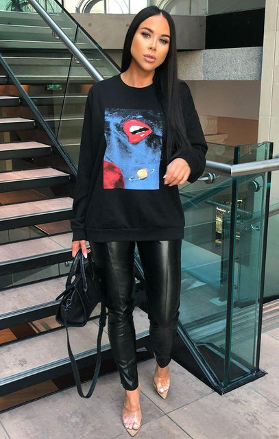 Black Lips Printed Oversized T-Shirt Dress - Rihanna