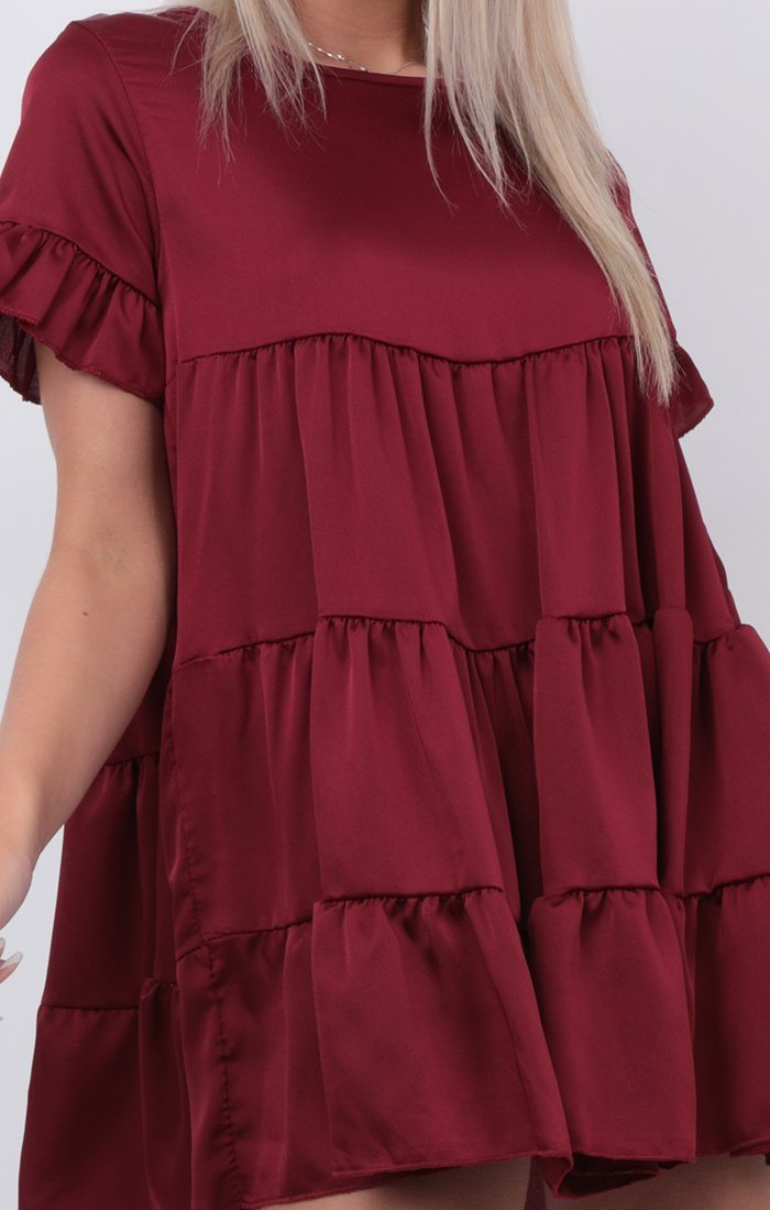 Maroon Satin Babydoll Swing Dress - Alise