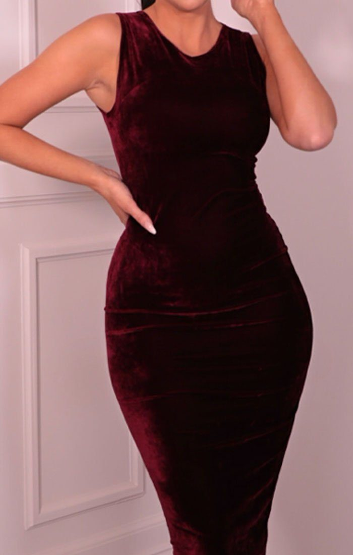 Maroon Velvet Sleeveless Midaxi Dress - Faith