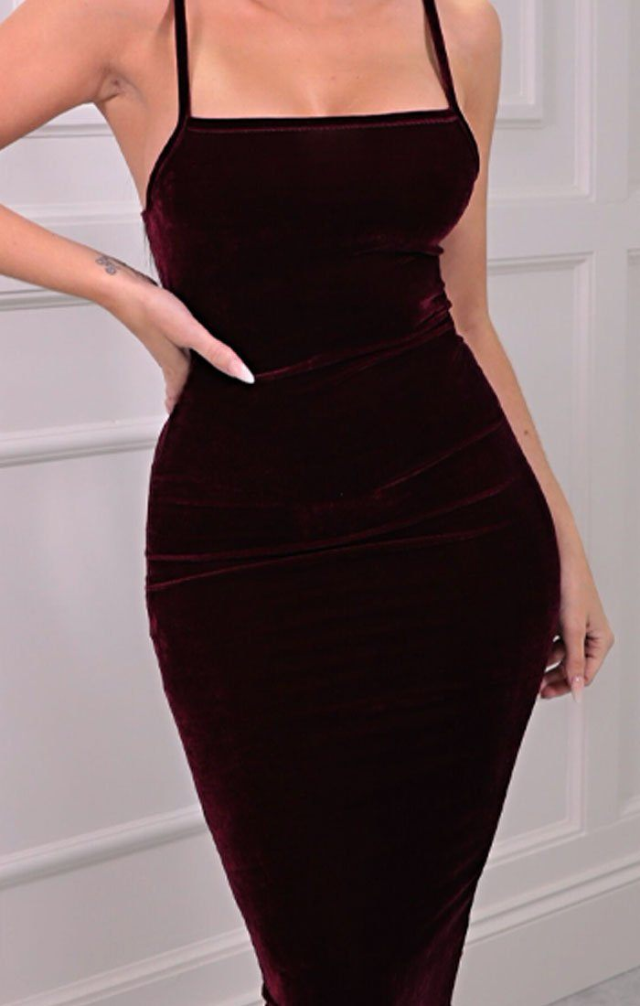 Maroon Velvet Strappy Square Neck Bodycon Midaxi Dress - Sara