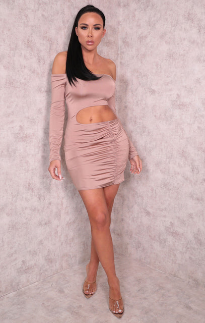 Mauve One Shoulder Cut Out Ruched Side Bodycon Mini Dress - Charlie