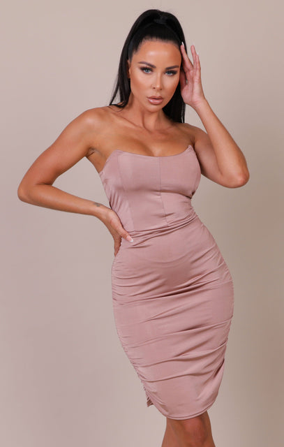 Mink Corset Strapless Bodycon Mini Dress - Emery
