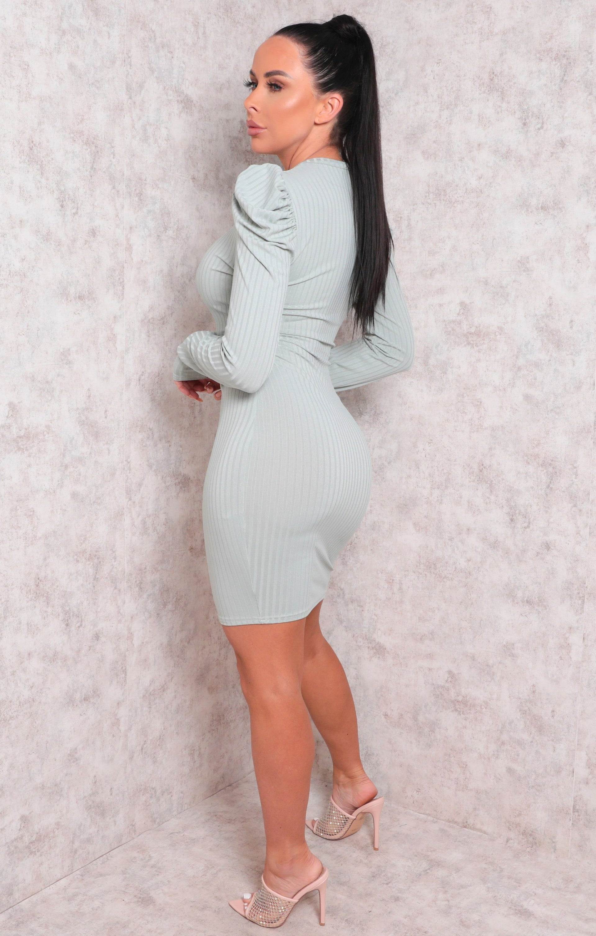 Mint Long Sleeve Ribbed Bodycon Mini Dress - Peggy