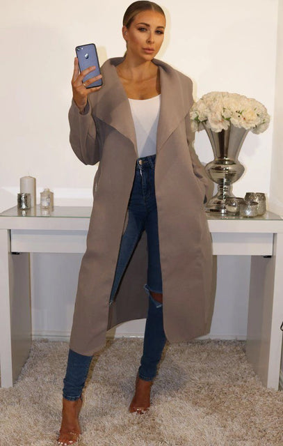 Mocha Waterfall Duster Belted Long Coat