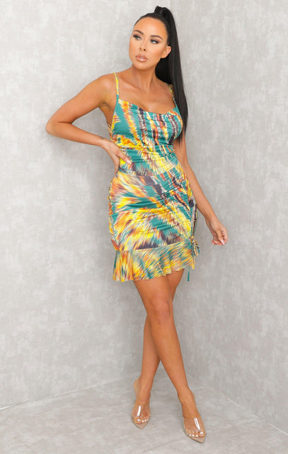 Multi Coloured Strappy Mini Dress - Angelica