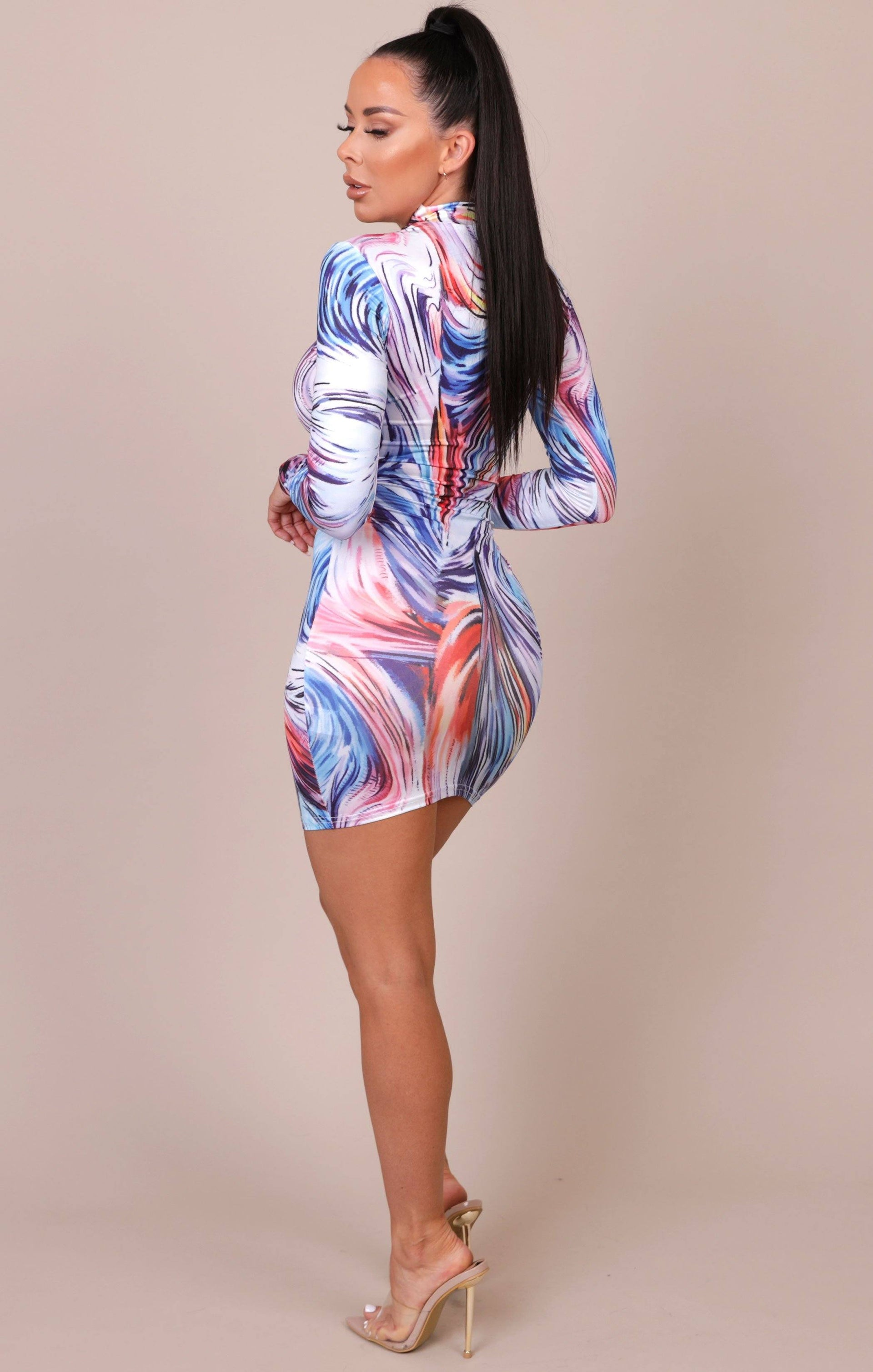 Multicolour High Neck Long Sleeve Bodycon Dress - Daisy