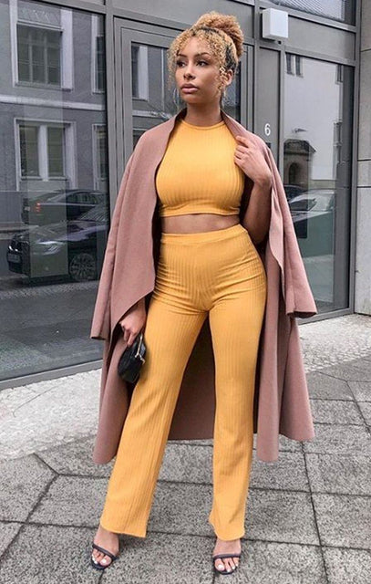 Mustard Crop Ribbed Two Piece Co-ord Set - Suzi