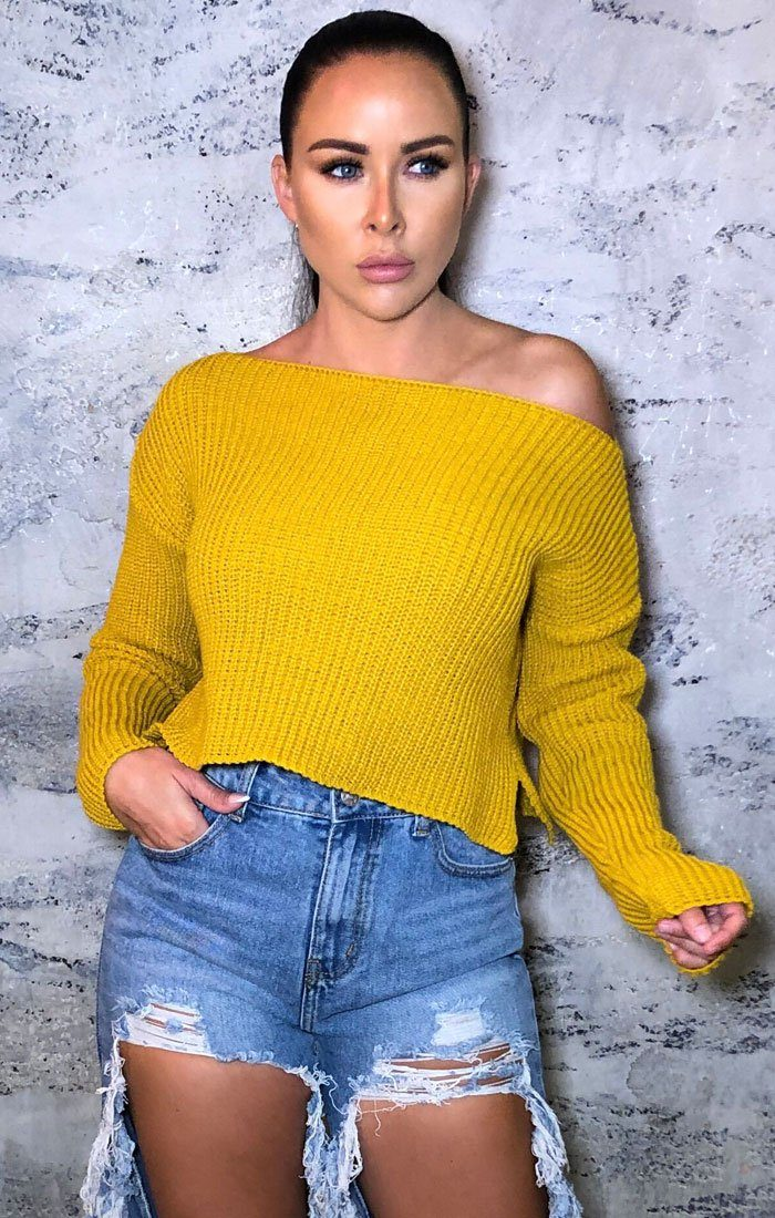 Mustard Knitted Cropped Jumper - Iris