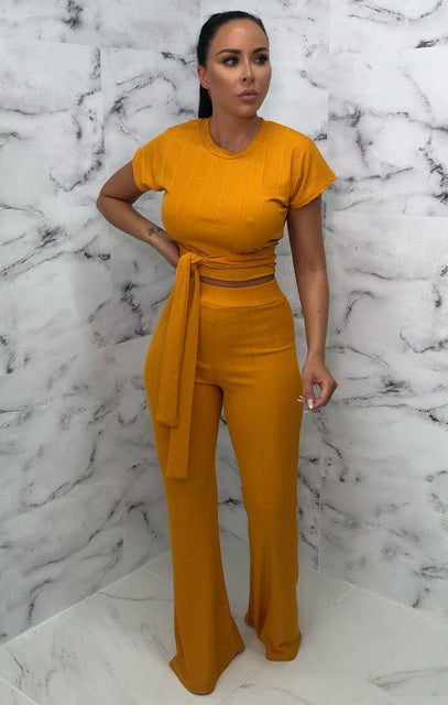 Mustard Ribbed Belted Co-Ord - Alannah