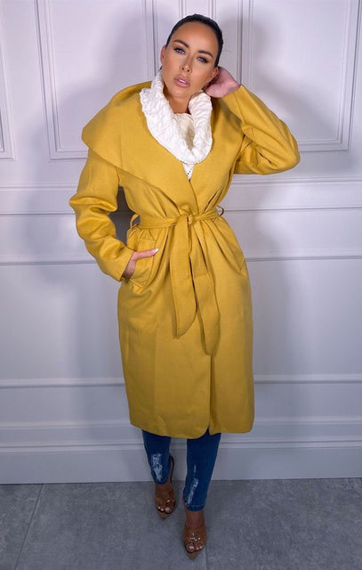 Mustard Waterfall Duster Belted Long Coat