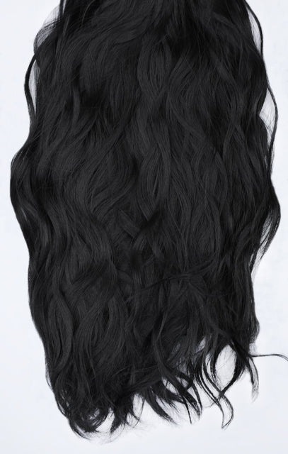 "Natural Black Thick 20"" Synthetic Clip In Wavy Hair Extensions Set - Loren"