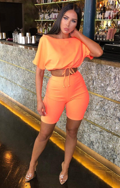 Neon Coral Bardot Elasticated Crop Top & Cycling Shorts Co-ord - Adira