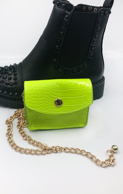 Neon Green Animal Croc Print Micro Mini Bag - Xanthe