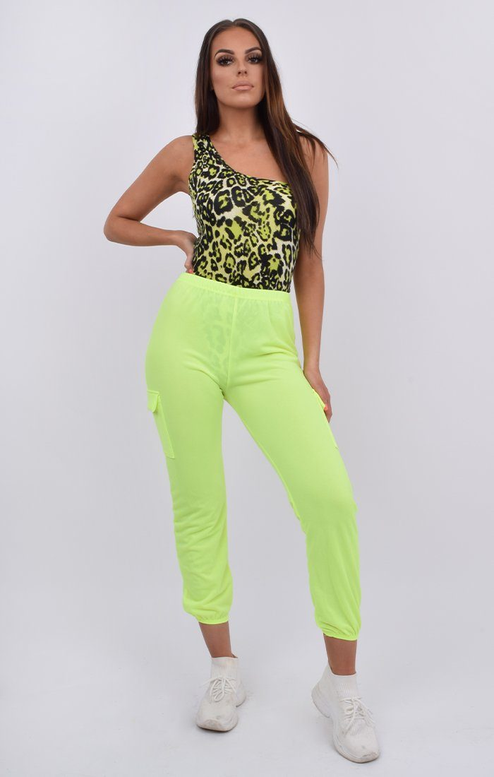 Neon Green Cuffed Cargo Trousers - Nell